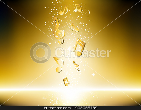 Golden background with music notes and stars. stock vector clipart, Golden background with music notes and stars. Editable Vector Image by Augusto Cabral Graphiste Rennes