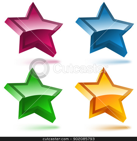 Set of four 3D shiny stars. stock vector clipart, Set of four 3D shiny stars. Editable Vector Image by Augusto Cabral Graphiste Rennes