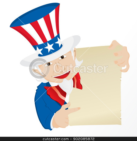 Uncle Sam Holding Sign.  stock vector clipart, Uncle Sam Holding Sign. Editable Vector Illustration by Augusto Cabral Graphiste Rennes