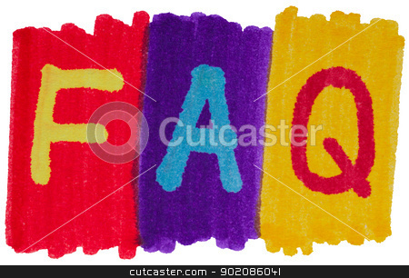 FAQ, frequently asked questions in bright marker ink colors. stock photo, FAQ, frequently asked questions in bright colors. by Stephen Rees