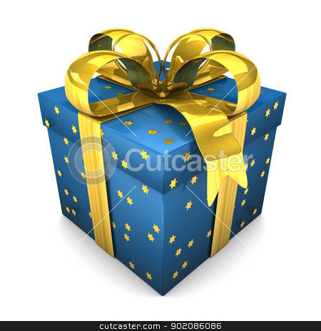 Blue Gift Stars stock photo, Blue gift with golden stars. White background. by Alexander Limbach