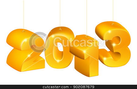 New Year or Christmas 2013 Ornaments stock vector clipart, New Years ornaments saying 2013 for New Year or Christmas twenty thirteen. by Christos Georghiou