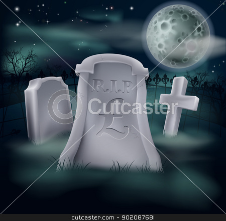 Pound Sterling grave concept stock vector clipart, A grave in a graveyard with RIP and a pound sign on it. Economy or financial concept. by Christos Georghiou