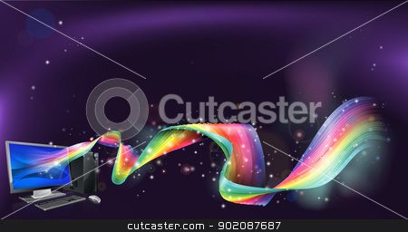 Computer rainbow background stock vector clipart, An abstract background with desktop pc computer with a rainbow flowing out of it by Christos Georghiou