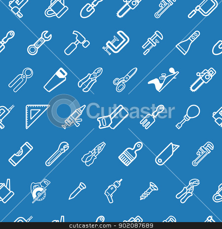 Tilable tools background texture stock vector clipart, A tilable seamless tools background texture with lots of drawings of different tools by Christos Georghiou