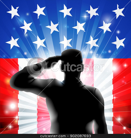 US flag military soldier saluting in silhouette stock vector clipart, An American US military soldier from the armed forces in silhouette in uniform saluting in front of an American flag background of red white and blue stars and stripes. by Christos Georghiou
