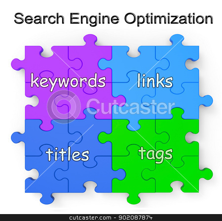 Search Engine Optimization Puzzle Shows Links And Tags stock photo, Search Engine Optimization Puzzle Shows Links, Tags, Titles And Keywords by stuartmiles