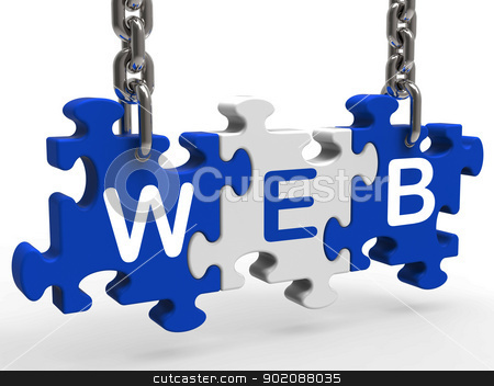 Web Shows Online Websites Or Internet stock photo, Web Showing Online Searching Websites Or Internet by stuartmiles