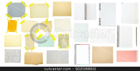 collection of old note paper stock photo, collection of old note paper on white background. by Vitaliy Pakhnyushchyy