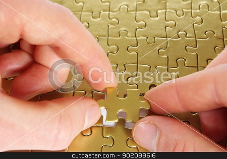 puzzle in hands stock photo, hands holding a puzzle piece . business concepts by Vitaliy Pakhnyushchyy