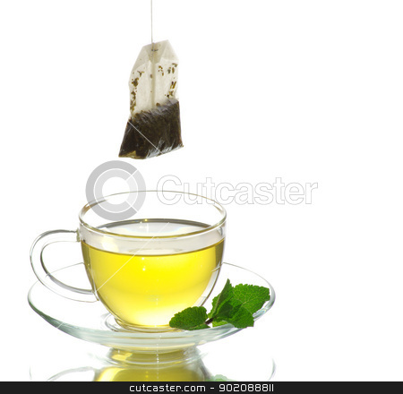 tea in cup stock photo, tea in cup with leaf mint  isolated on white  by Vitaliy Pakhnyushchyy