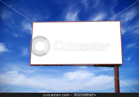 billboard on  sky stock photo, advertising billboard on background sky by Vitaliy Pakhnyushchyy
