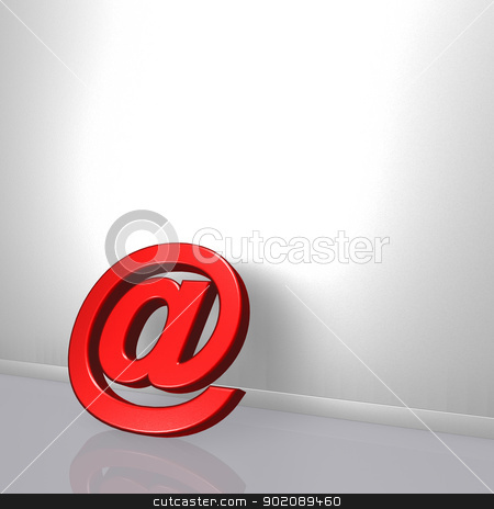 email symbol stock photo, email symbol leans on white wound - 3d illustration by J?