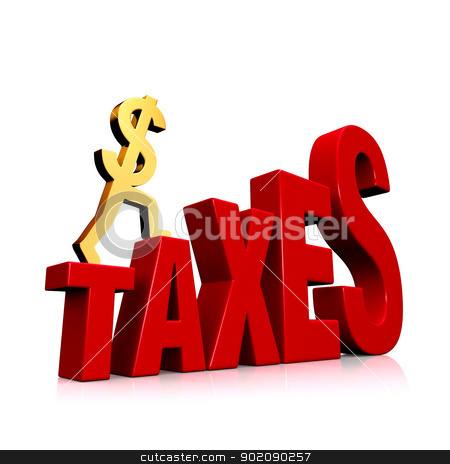 Rising Taxes stock photo, A gold dollar sign climbing steps forming the word,