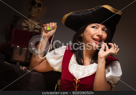 Dramatic Female Pirate Biting A Coin stock photo, Dramatic Female Pirate Biting a Coin in a Dimly Lit Moody Scene. by Andy Dean
