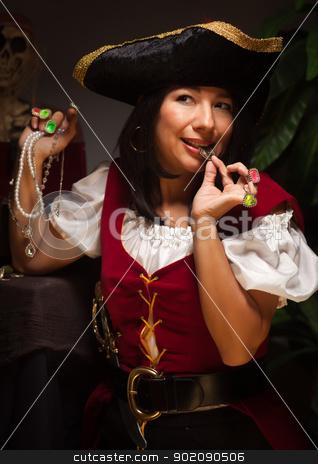 Dramatic Female Pirate Scene stock photo, Dramatic Female Pirate in a Dimly Lit Moody Scene. by Andy Dean