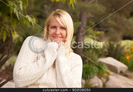 Attractive Blonde Caucasian Woman in the Park stock photo, Attractive Blonde Caucasian Woman Portrait in the Park. by Andy Dean
