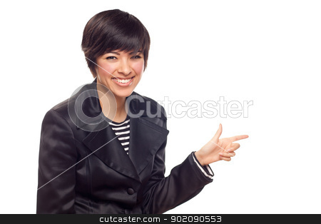 Happy Young Mixed Race Woman Pointing to the Side stock photo, Happy Young Mixed Race Woman Pointing to the Side Isolated on White. by Andy Dean