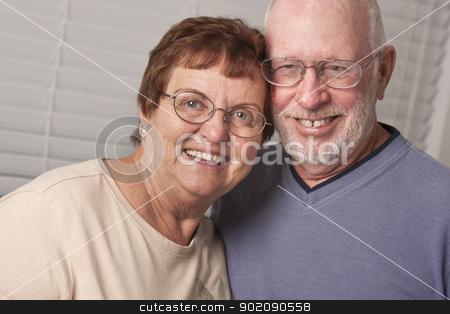 Happy Senior Couple Portrait stock photo, Affectionate Happy Senior Couple Portrait Indoors. by Andy Dean