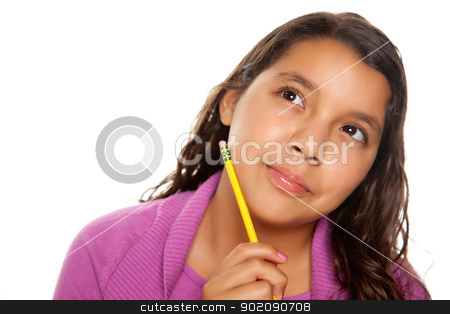 Pretty Hispanic Girl Thinking with Pencil stock photo, Pretty Hispanic Girl Thinking with Pencil Isolated on a White Background. by Andy Dean