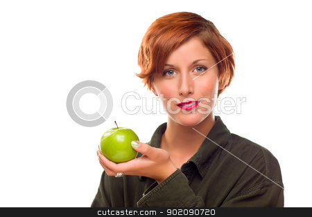 Pretty Young Woman Holding Green Apple stock photo, Pretty Young Woman Holding Green Apple Isolated on a White Background. by Andy Dean