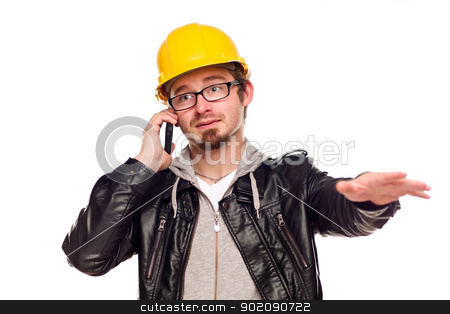 Handsome Young Man in Hard Hat on Phone stock photo, Handsome Young Man in Hard Hat Talking on Cell Phone Isolated on a White Background. by Andy Dean