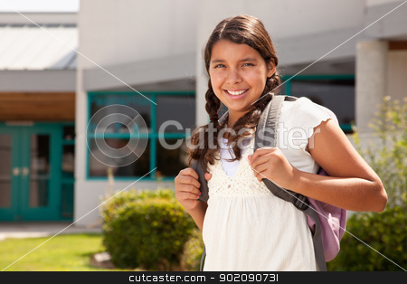 Cute Hispanic Teen Girl Student Ready for School stock photo, Cute Hispanic Teen Girl Student with Backpack Ready for School. by Andy Dean