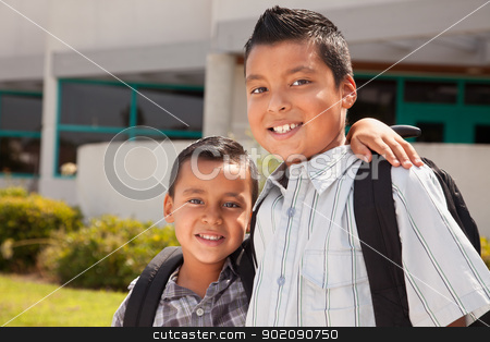 Cute Brothers Ready for School stock photo, Cute Brothers Wearing Backpacks Ready for School. by Andy Dean