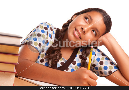 Pretty Hispanic Girl Studying and Daydreaming stock photo, Pretty Hispanic Girl Studying and Daydreaming Isolated on a White Background. by Andy Dean