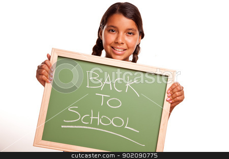 Pretty Hispanic Girl Holding Chalkboard with Back To School stock photo, Pretty Hispanic Girl Holding Chalkboard with Back To School Isolated on a White Background. by Andy Dean