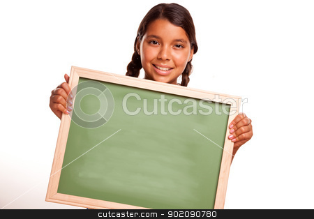 Pretty Hispanic Girl Holding Blank Chalkboard stock photo, Pretty Hispanic Girl Holding Blank Chalkboard Ready for your Own Message Isolated on a White Background. by Andy Dean