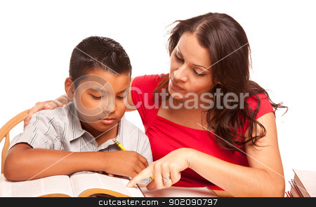 Attractive Hispanic Mother and Son Studying stock photo, Attractive Hispanic Mother and Son Studying Isolated on a White Background. by Andy Dean
