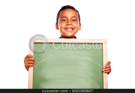 Cute Hispanic Boy Holding Blank Chalkboard stock photo, Cute Hispanic Boy Holding Blank Chalkboard Ready for Your Own Message Isolated on a White Background. by Andy Dean