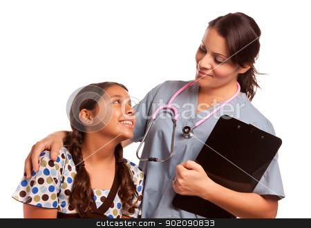 Pretty Hispanic Girl and Female Doctor Isolated stock photo, Pretty Hispanic Girl and Female Doctor Isolated on a White Background. by Andy Dean