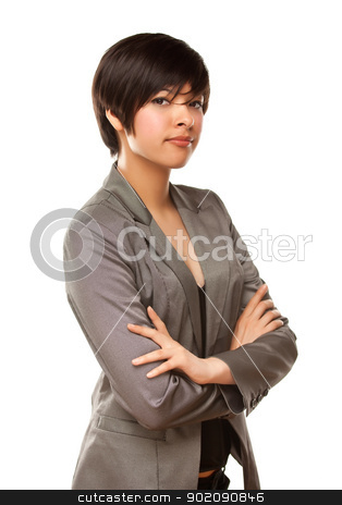 Pretty Mixed Race Young Adult Female on White stock photo, Pretty Mixed Race Young Adult Female Isolated on a White Background. by Andy Dean