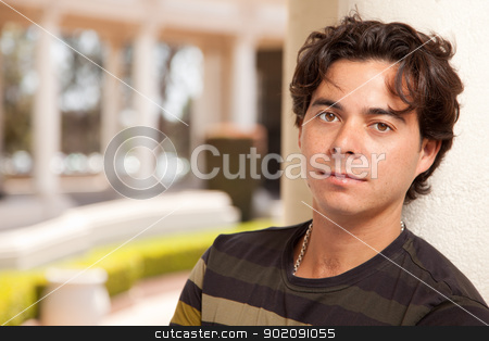 Handsome Hispanic Young Adult Man stock photo, Handsome Hispanic Young Adult Man Portrait Outdoors. by Andy Dean