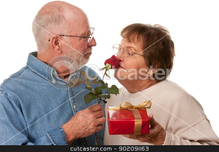 Happy Senior Couple with Gift and Red Rose stock photo, Happy Senior Couple with Gift and Red Rose Isolated on a White Background. by Andy Dean