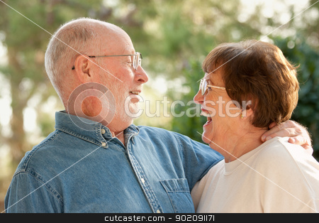 Happy Senior Couple Outdoor Portrait stock photo, Happy Affectionate Smiling Senior Couple Outdoor Portrait by Andy Dean