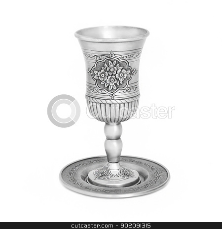 Steel jewish cup isolated stock photo, Steel jewish cup for a meeting of the Jewish Saturday by lermannika