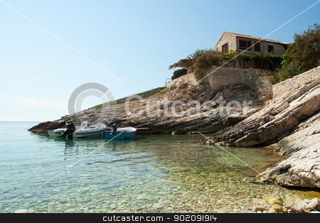 Coastal port on a bay stock photo, Coastal port on a bay (Croatia , vis) by Jozsef Demeter