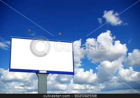 billboard on sky stock photo, advertising billboard on sky background by Vitaliy Pakhnyushchyy