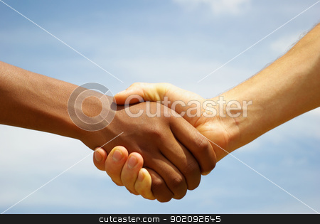 handshake stock photo, Two young businessmen shaking hands by Vitaliy Pakhnyushchyy