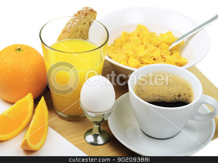 Breakfast stock photo, A good breakfast with coffee, juice, eggs, bread, cornflakes and orange by Preartiq