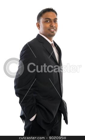 Confident 30s Indian businessman stock photo, Confident 30s Indian businessman standing isolated on white by szefei