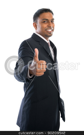 Thumb up stock photo, Excited thumb up 30s Indian businessman in black suit isolated on white background by szefei