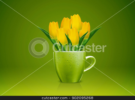 Modern vase stock photo, Modern vase style, A group of yellow Tulips in green vase. by Designsstock