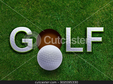 Golf stock photo, Golf word on green grass and golf ball on lip of hole by Designsstock