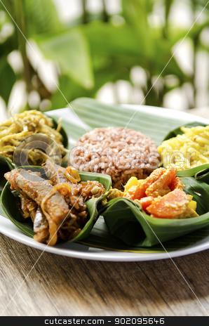 indonesian food in bali stock photo, indonesian food in bali, several curries and rice by travelphotography
