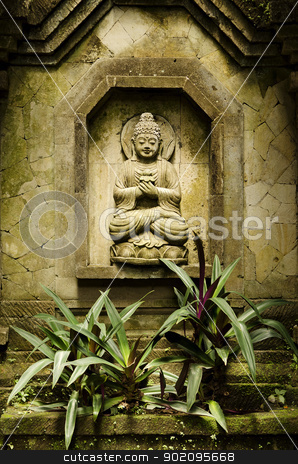 buddha image in bali indonesia stock photo, buddha image in bali indonesia garden by travelphotography