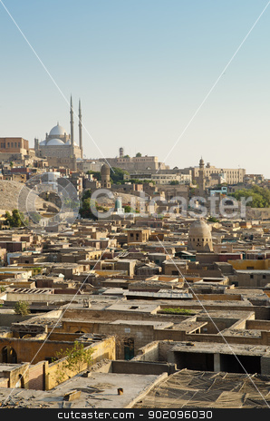 city of the dead and citadel in cairo egypt stock photo, city of the dead and citadel in cairo egypt by travelphotography